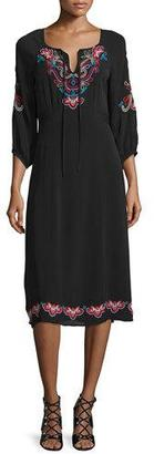 Nanette Lepore 3/4-Sleeve Midi Dress with Embroidery $478 thestylecure.com