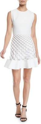 Dion Lee Sleeveless Crewneck Honeycomb-Cutout Mini Dress