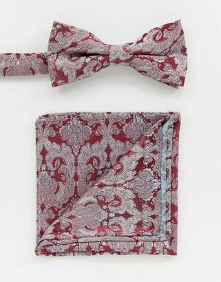 5cd6076874e9 Twisted Tailor bow tie and pocket square set in burgundy paisley jacquard