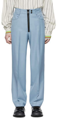 Kenzo Blue Pleated Memento Straight-Cut Trousers