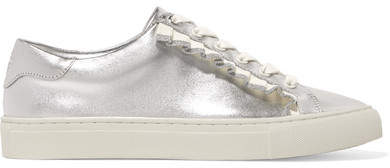 Tory Burch - Ruffled Metallic Leather Sneakers - Silver