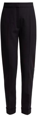 Stella McCartney Turn Up Cuff Straight Leg Wool Blend Trousers - Womens - Navy