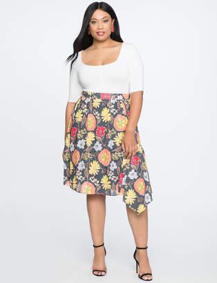 Printed Asymmetrical Midi Skirt