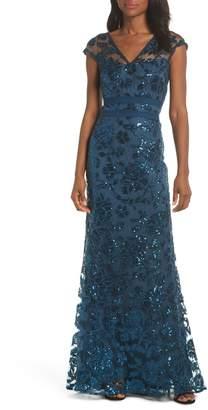 Tadashi Shoji Sequin Lace Evening Dress