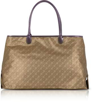 Gherardini Hazelnut Signature Fabric Softy Tote w/Patent Leather Double Handles