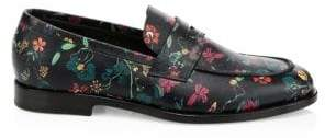 Paul Smith Floral-Print Leather Penny Loafers