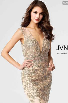 Jovani Gold Embroidered Dress