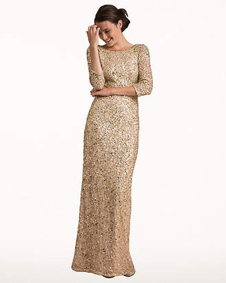 Le Château Sequin Boat Neck Open Back Gown