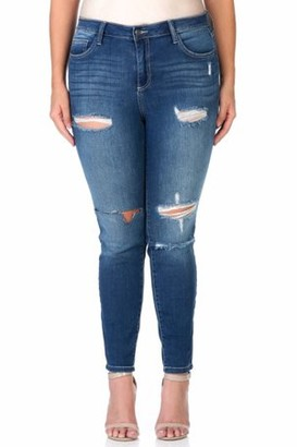 Cello Women's Plus Medium Wash Ripped Skinny Jean