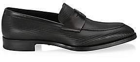 Giorgio Armani Men's Illusion Stripe Leather Loafers