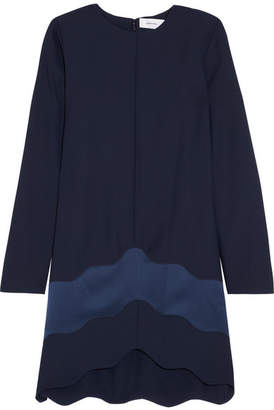Carven Satin-paneled Crepe Mini Dress - Navy