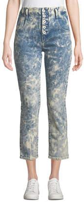 Jonathan Simkhai E-Cig High-Rise Bleached Button-Fly Jeans