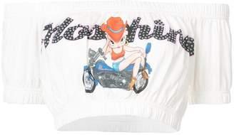 Moschino bardot logo cropped top