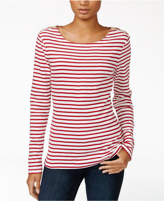 Maison Jules Striped Zip-Detail Top, Only at Macy's $39.50 thestylecure.com