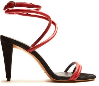 Isabel Marant Abigua Tie Ankle Leather Sandals - Womens - Red