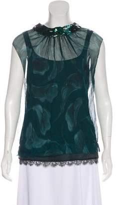 Nina Ricci Embellished Silk Top
