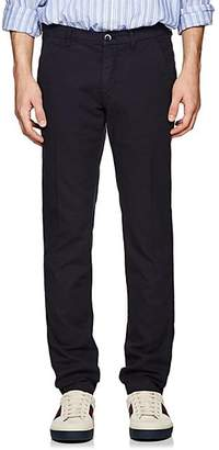 Barneys New York Men's Basket-Weave Cotton Slim Trousers - Navy