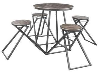 Acme Blaze 5 Piece Counter Height Set in Gray Oak and Bronze