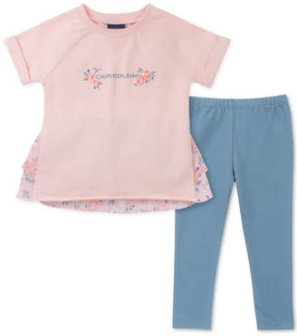 Calvin Klein Little Girls 2-Pc. Ruffle-Trim Top   Leggings Set e7bb26ec0
