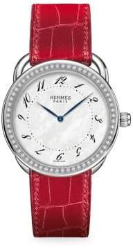 Hermes Watches Arceau Diamond, Stainless Steel& Alligator Strap Watch