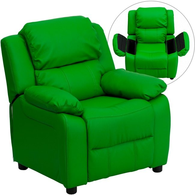 Flash Furniture Deluxe Heavily Padded Contemporary Green Vinyl Kids Recliner with Storage Arms