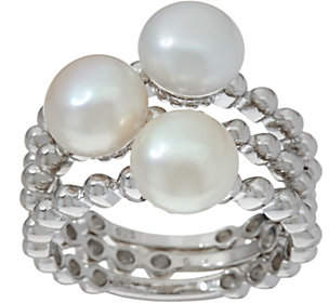 Honora Cultured Pearl Set of 3 Stack RingsSterling