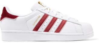 adidas Superstar Velvet-trimmed Leather Sneakers - White