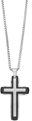 1913 Stainless Steel Two Tone Men's Cross Pendant Necklace