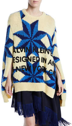 Calvin Klein Crewneck Star-Intarsia Open-Underarm Oversized Wool Sweater