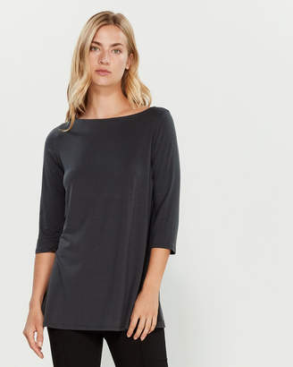 Eileen Fisher Graphic Boatneck Tunic Top