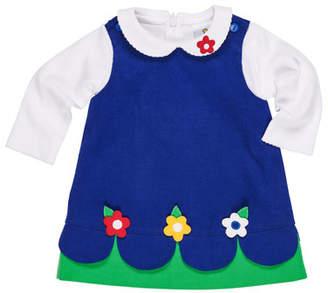 Florence Eiseman Scallop-Hem Corduroy Dress w/ Peter Pan-Collar Top, Size 12-24 Months