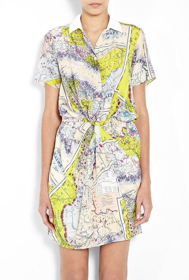 Carven Map Print Silk Shirt Dress