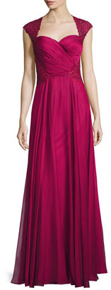 La Femme Ruched-Bodice Sweetheart Gown, Cocoa $598 thestylecure.com