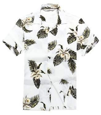 Hawaii Hangover Men's Hawaiian Shirt Aloha Shirt L Plam Green Leaf