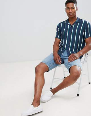 Pull&Bear striped shirt with revere collar in navy