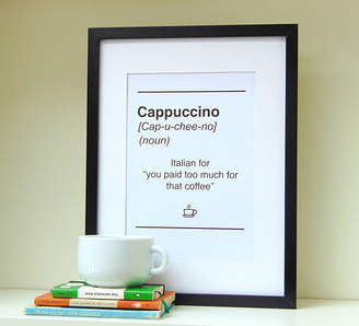 Little Bird Designs Dictionary Style Cappuccino Quote Print