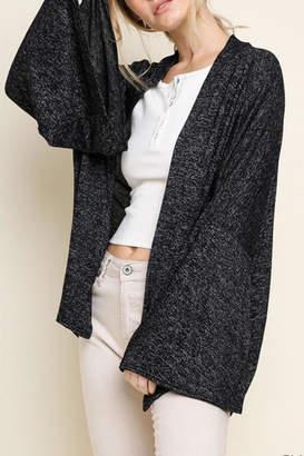 Umgee USA Heathered Bell-Sleeve Cardigan