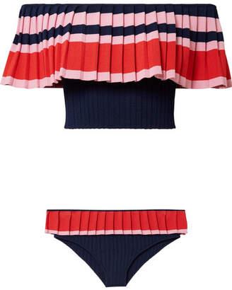 Tabula Rasa - Toque Off-the-shoulder Ribbed Stretch-knit Bikini - Navy