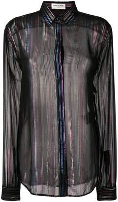 Saint Laurent sheer striped long-sleeve shirt