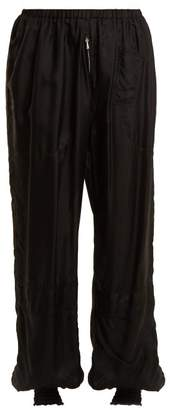 Katharine Hamnett Archive High Rise Elasticated Silk Trousers - Womens - Black