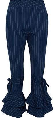 Nicholas Ruffled Pinstriped Cotton Kick-Flare Pants