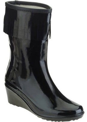 FOREVER YOUNG Forever Young Women's Fringed Short Wedge Rain Boot
