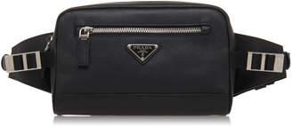 Prada Black Leather Hip Bag With Nylon Waistband