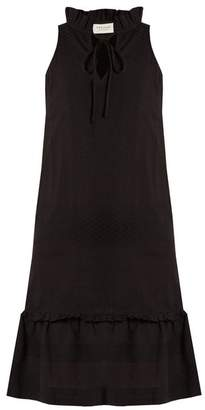 Cecilie Copenhagen - Tie Neck Scarf Jacquard Cotton Dress - Womens - Black