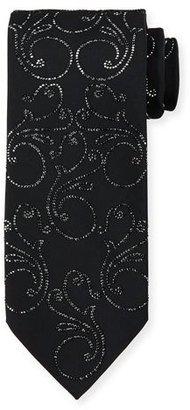 Stefano Ricci Crystal Floral-Print Silk Tie, Black $2,150 thestylecure.com