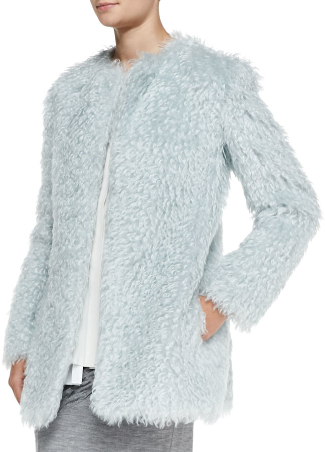 Derek Lam 10 Crosby Long-Sleeve Pastel Mohair Coat