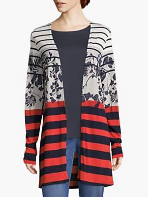 Betty Barclay Floral Striped Cardigan, Dark Blue/Red