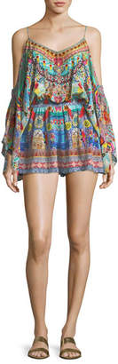 Camilla Cold-Shoulder Printed Silk Playsuit