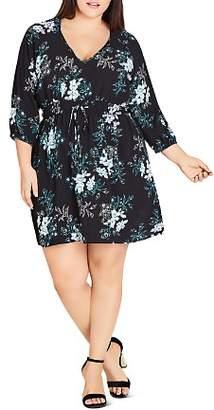 City Chic Plus Kaori-Floral V-Neck Dress