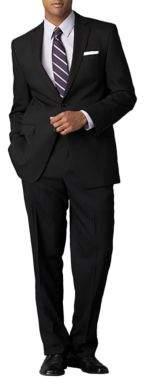 Calvin Klein Modern-Fit Black Solid Wool Suit